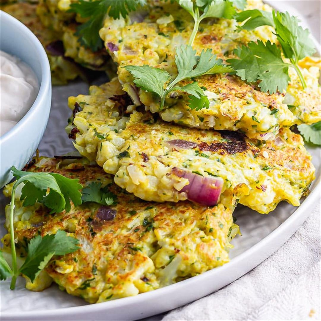 Cauliflower Fritters with Tahini Yoghurt Dip • The Cook Report