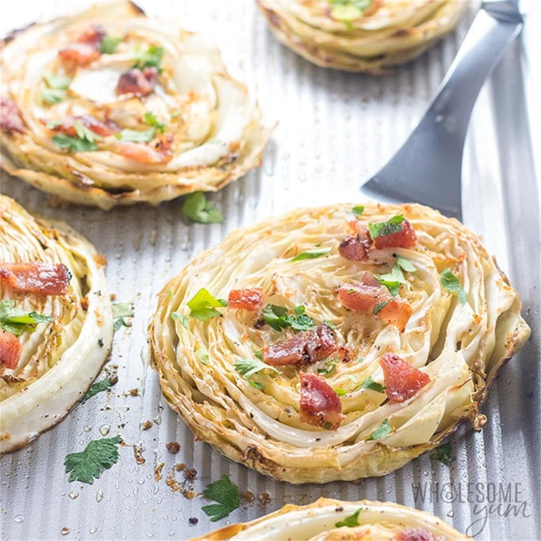 Oven Roasted or Grilled Cabbage Steaks with Bacon, Garlic & Lem