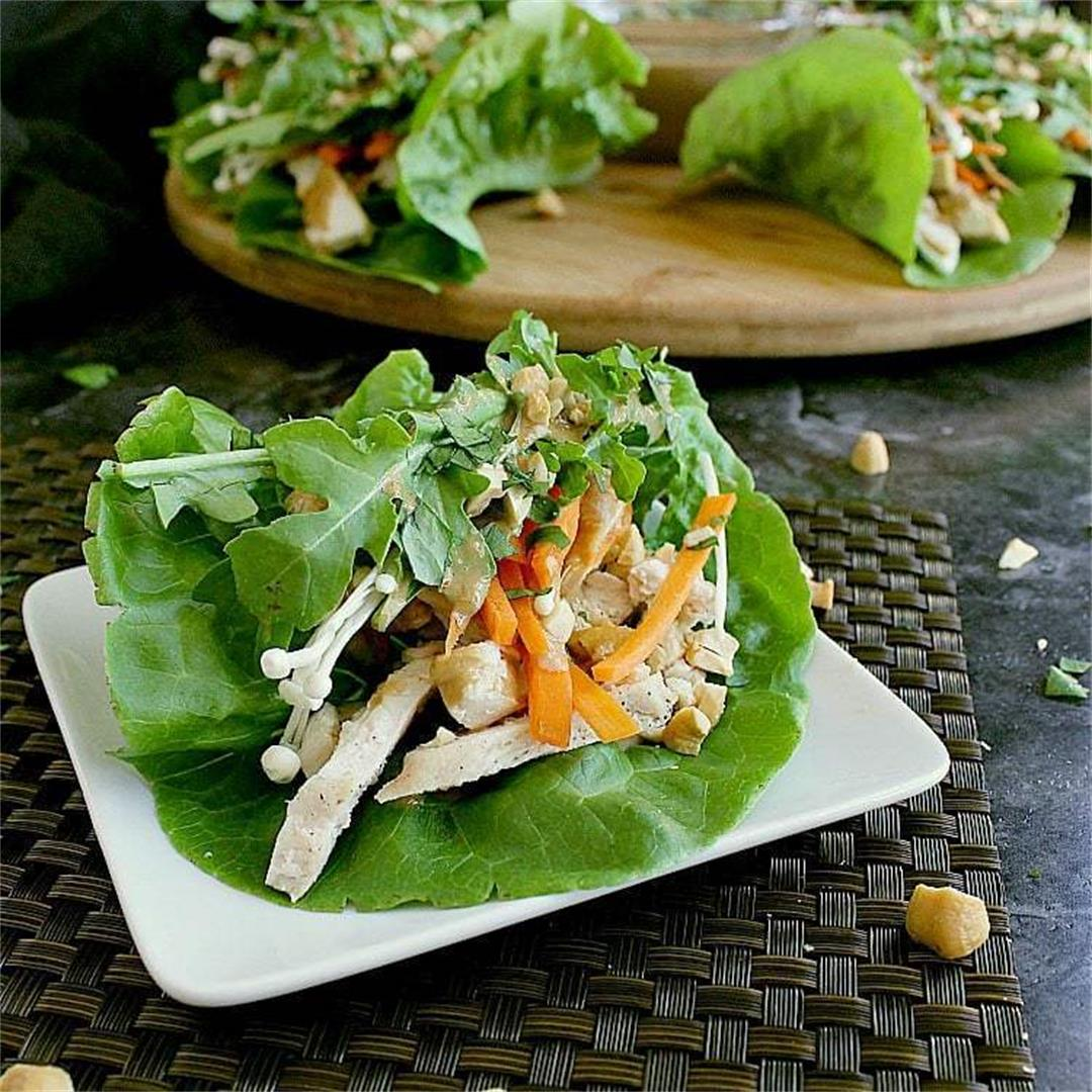 Addicting Keto Chicken Lettuce Wraps with Peanut Sauce