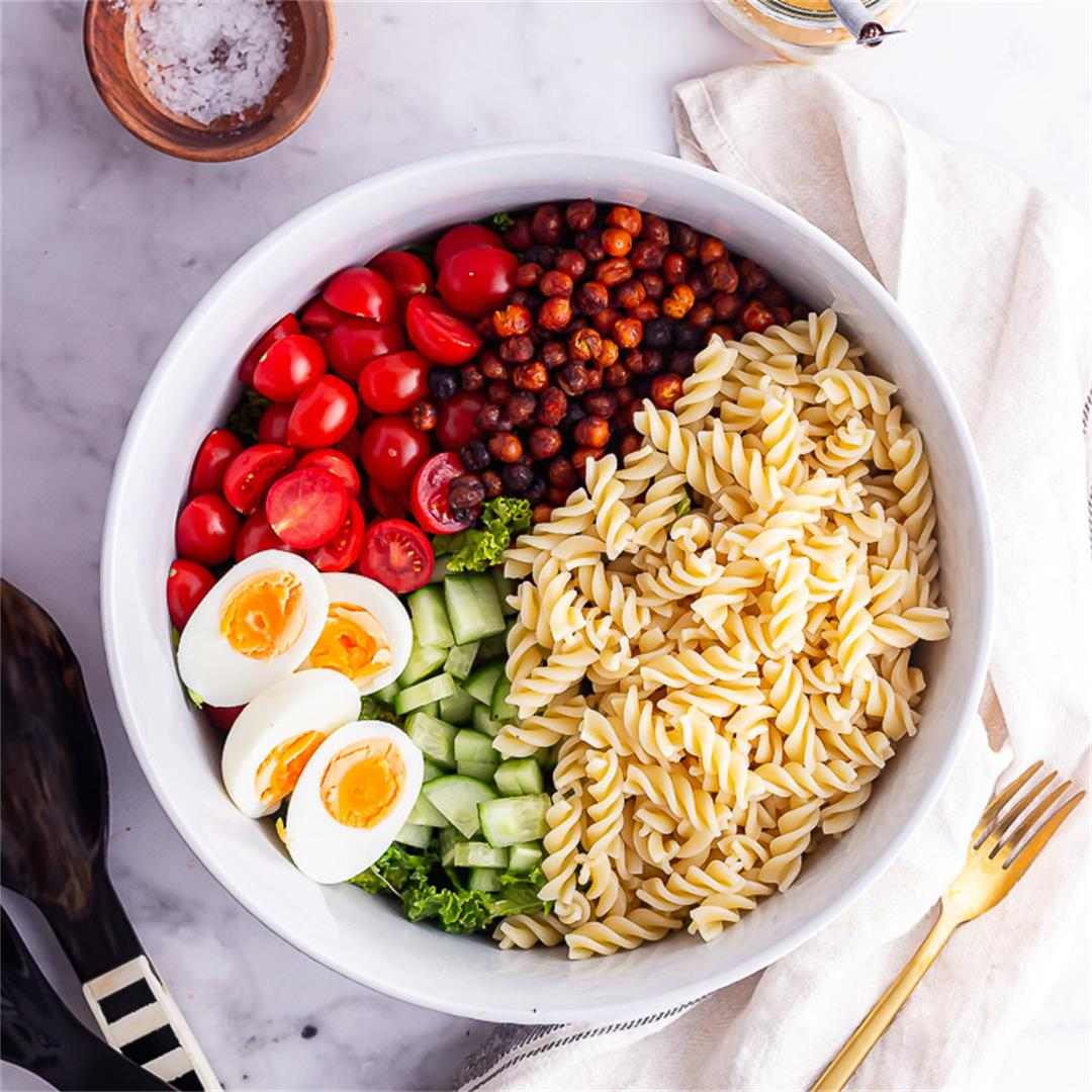 Cobb Salad with Pasta & Roasted Chickpeas