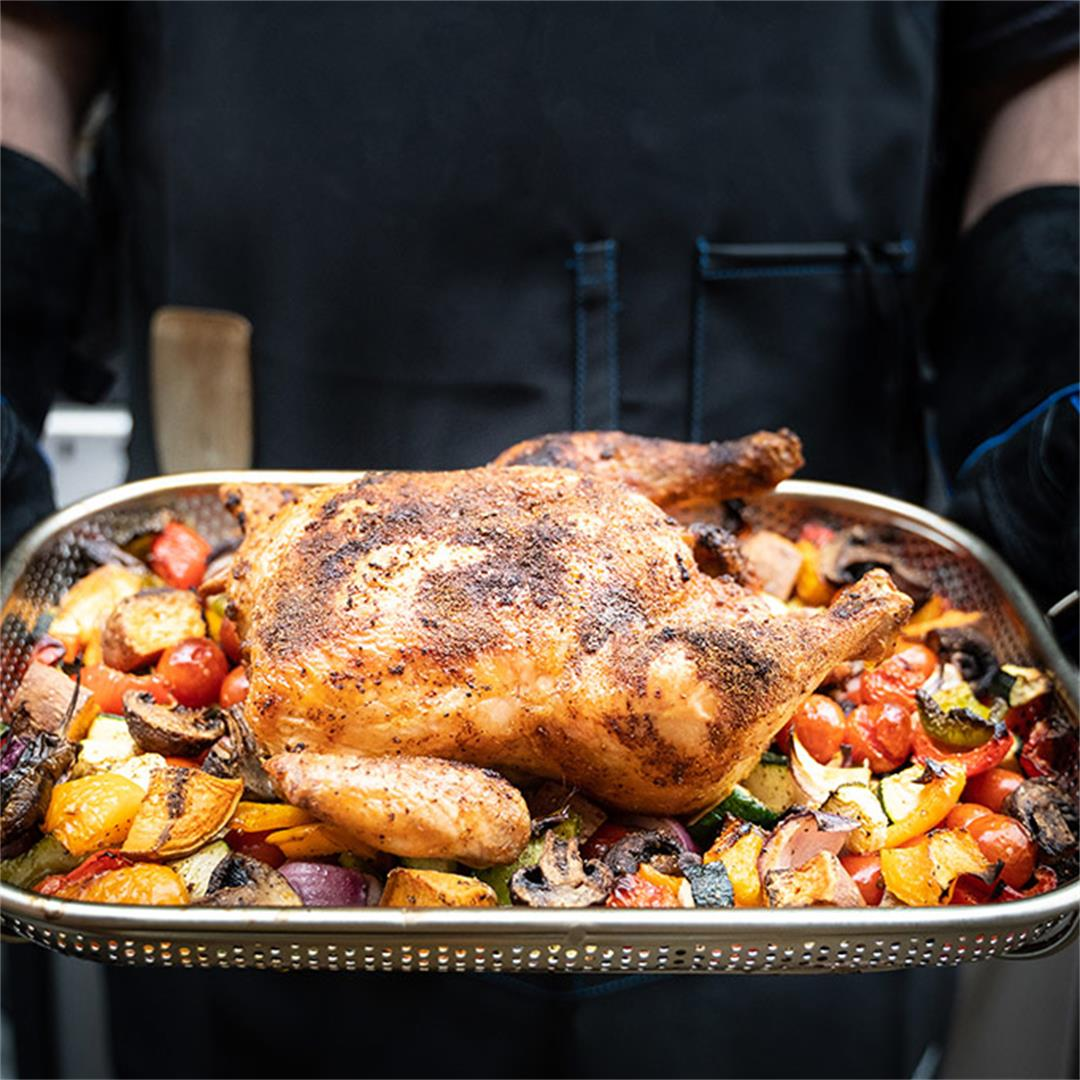 BBQ roasted chicken on vegetables