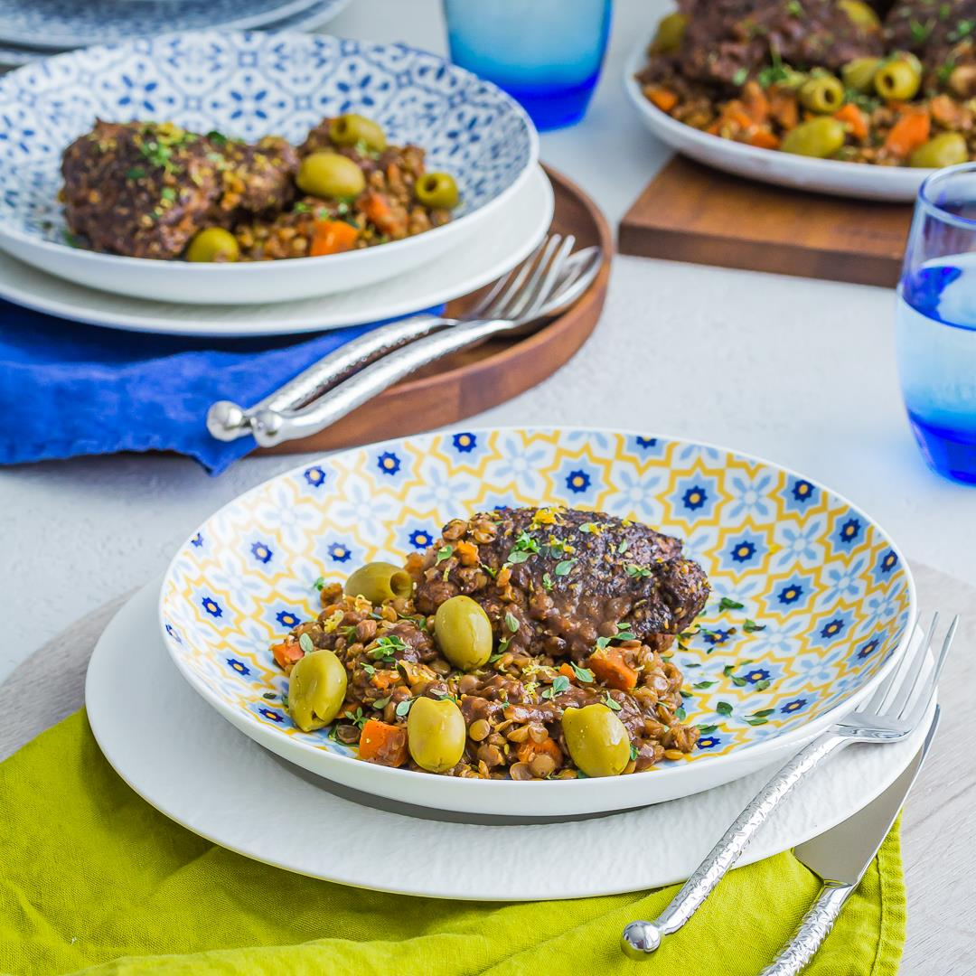 Mediterranean Chicken Thighs with Lentils & Greek Olives