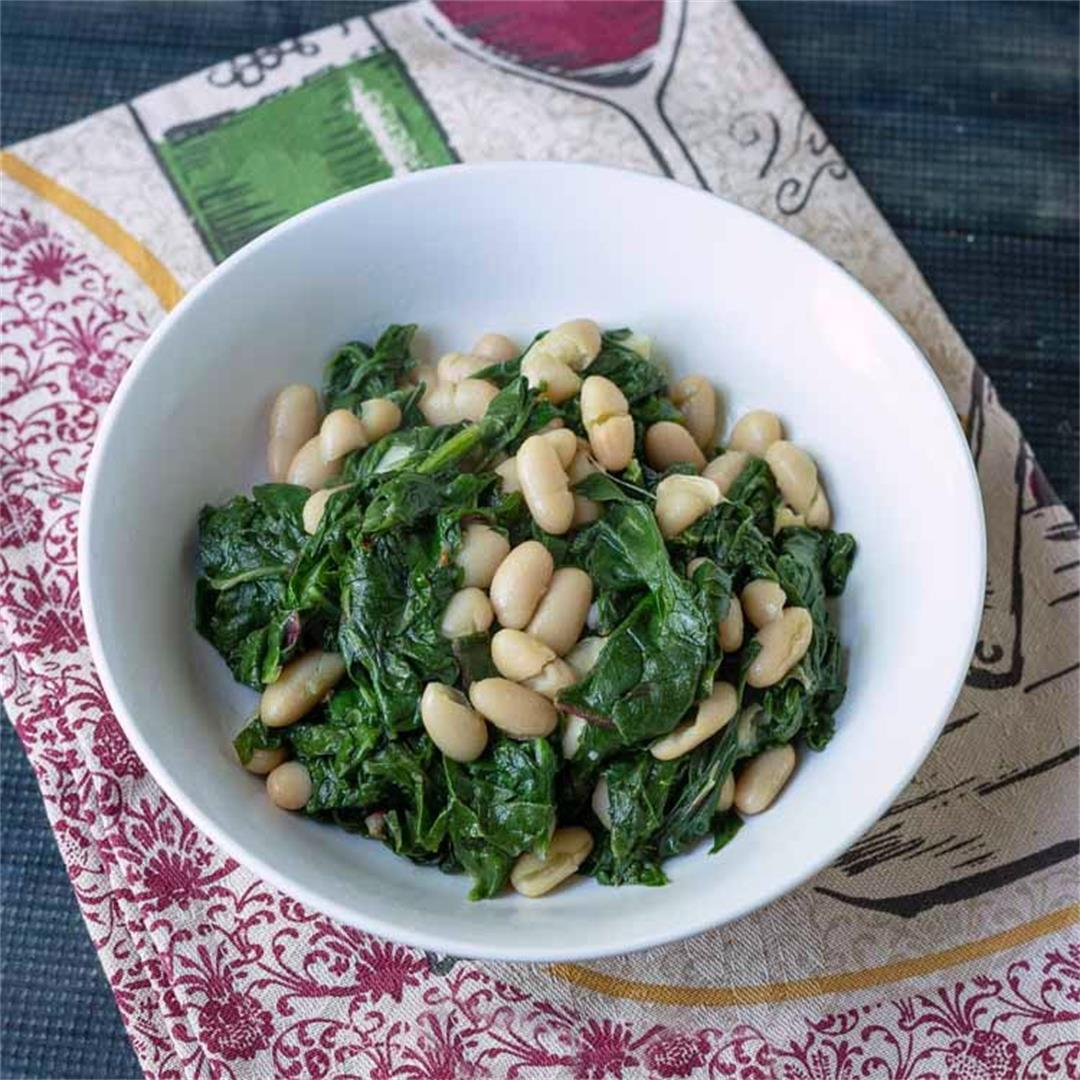 Beans and Greens Easy Recipe with Swiss Chard