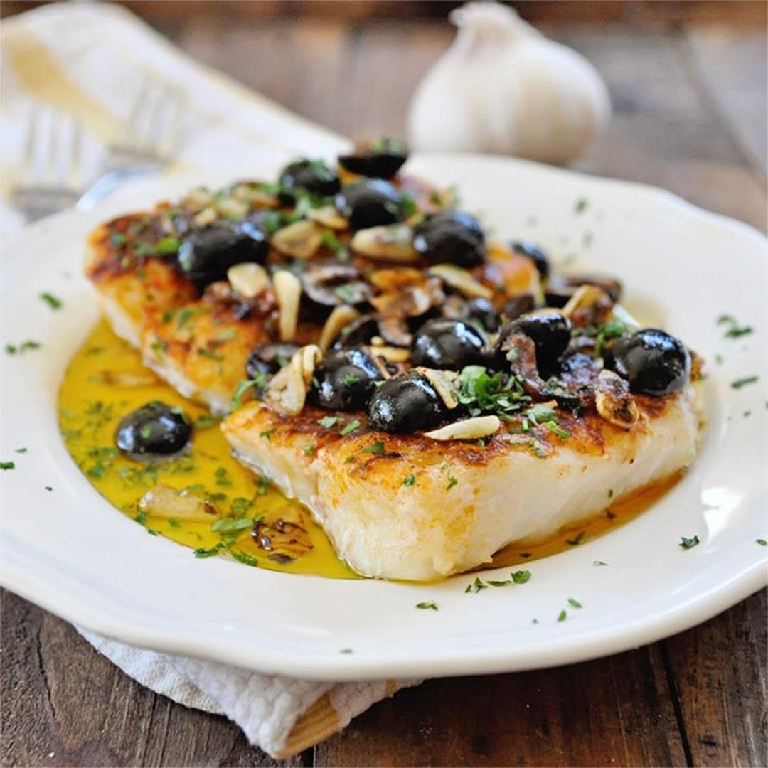 Pan Grilled Paprika Cod with Olives & Garlic Recipe