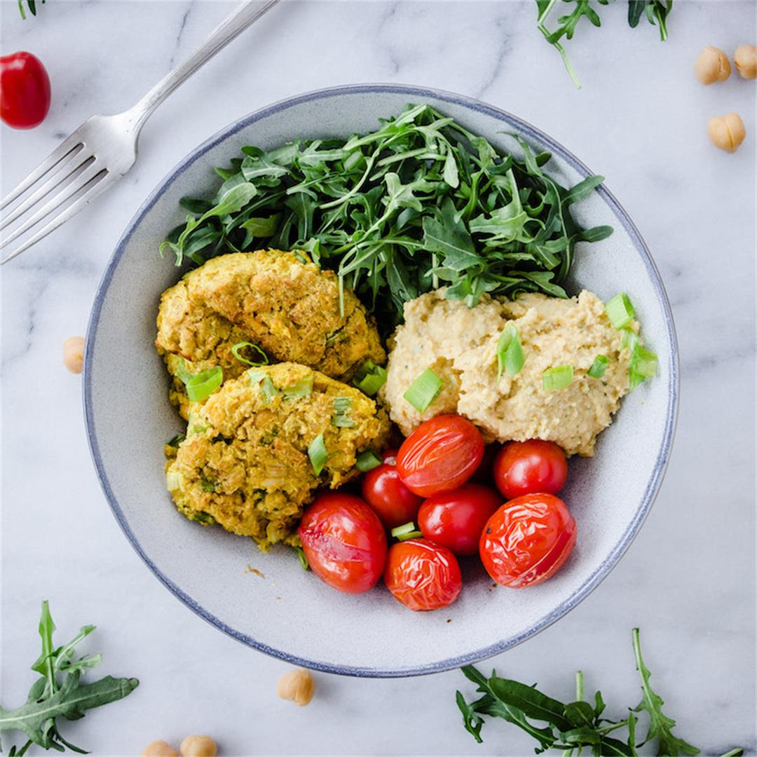 Simple Chickpea Fritter Bowl (vegan & gf)
