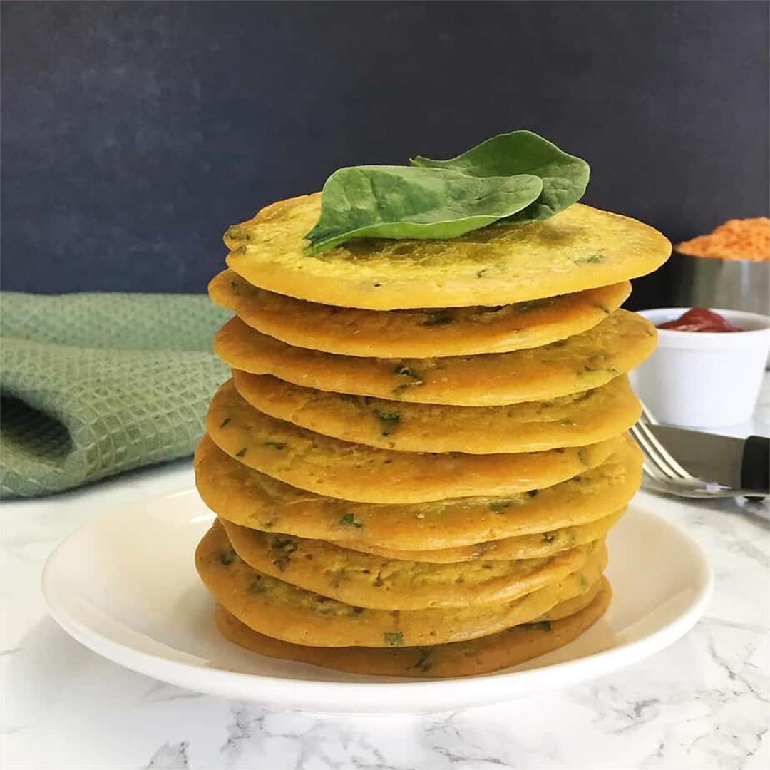 Lentil Spinach Pancakes [GF+No Oil]