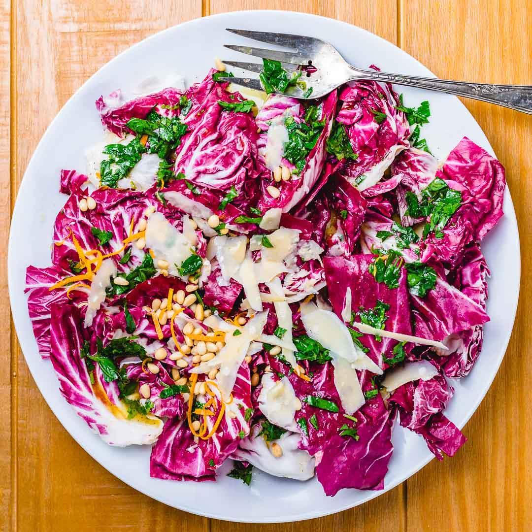 Radicchio Salad with Orange Pignoli Nut Vinaigrette
