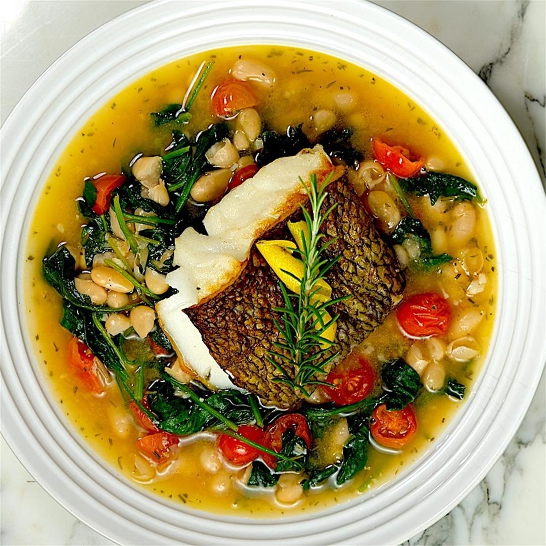 Seared Sea Bass with Cannellini Beans