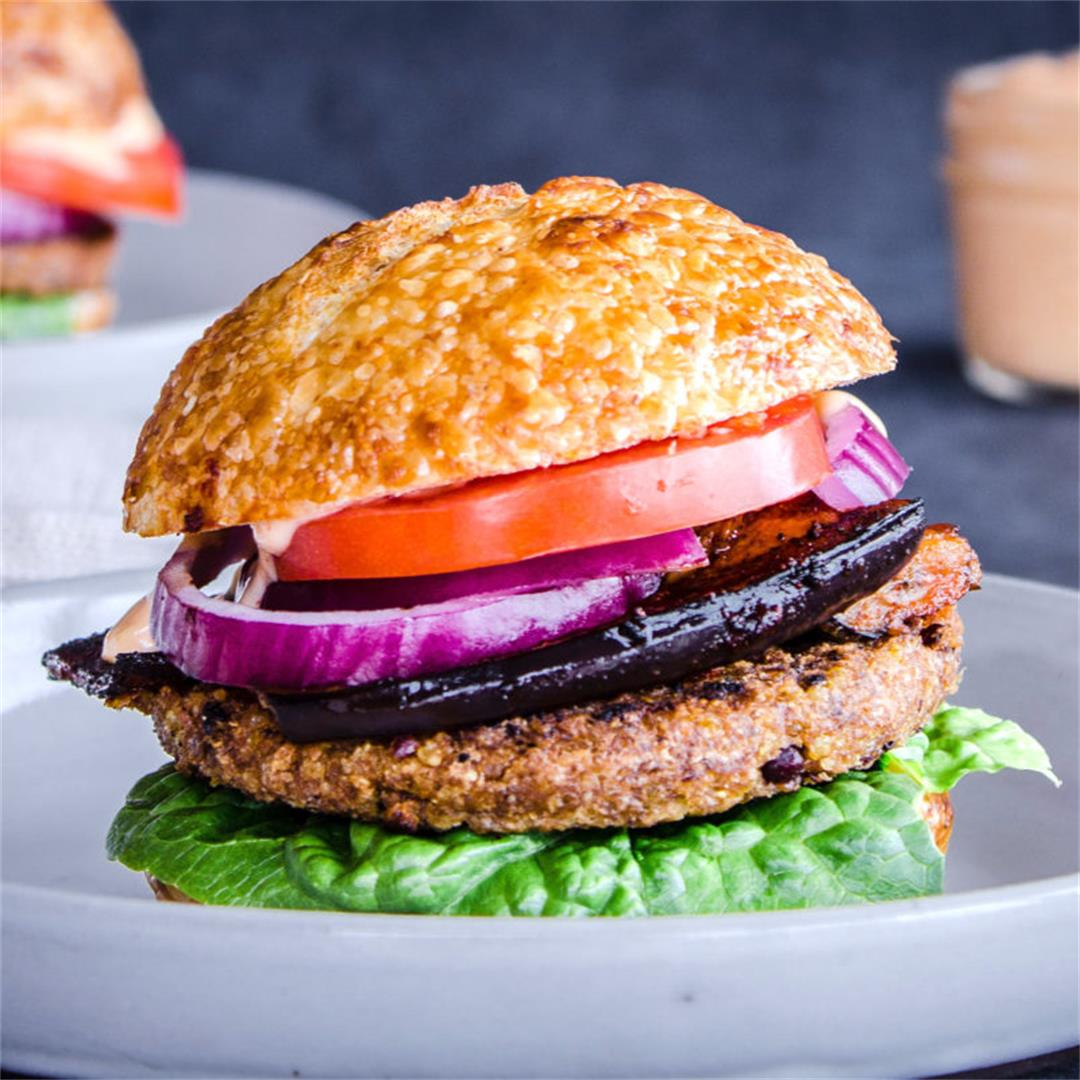 Smoky Eggplant Bean Burger & Garlic Mayo (vegan & gf)