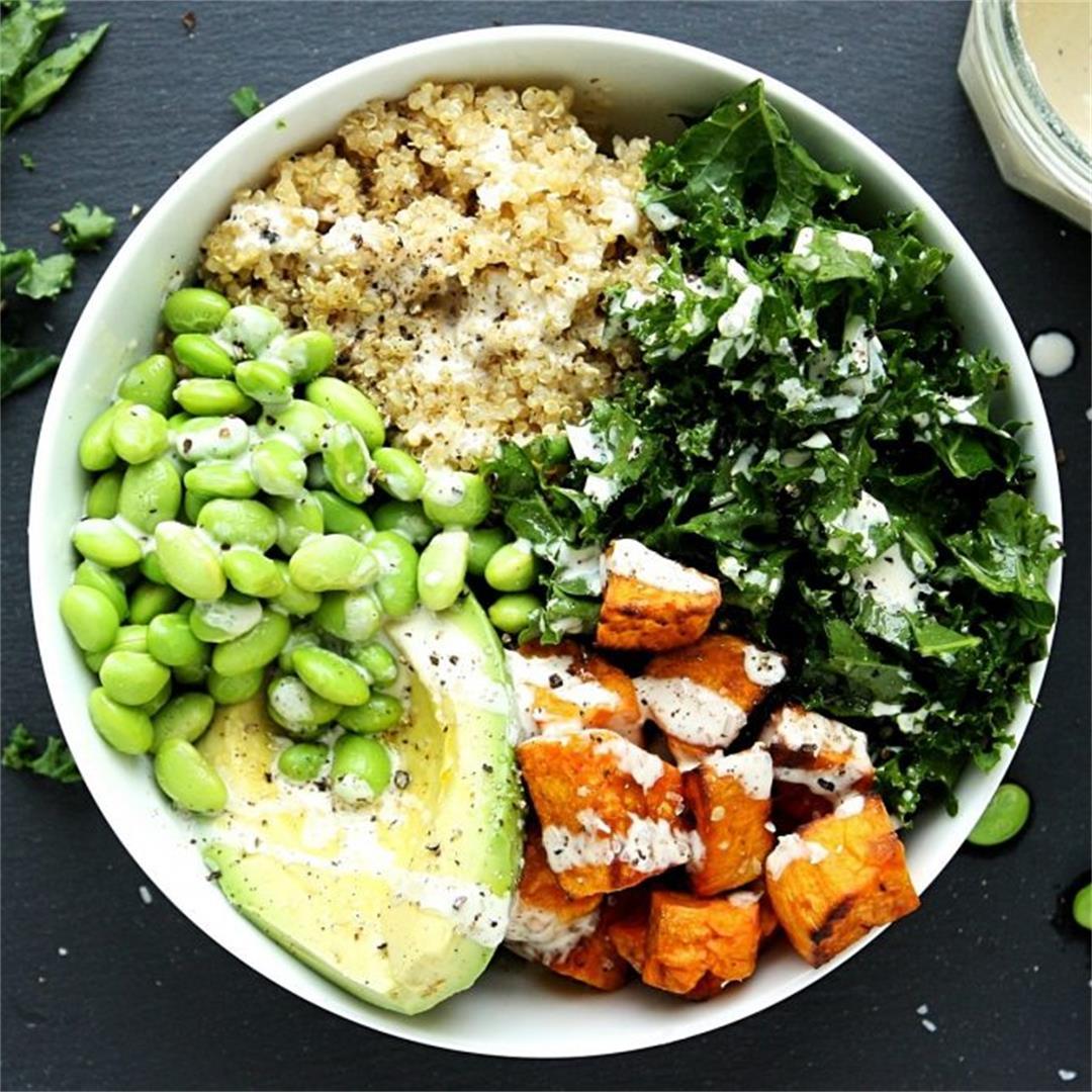 Sweet Potato Buddha Bowl with Kale and Quinoa