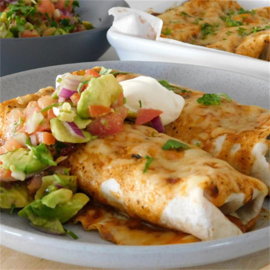 Cheesy Beef Enchiladas topped with a Refreshing Salsa