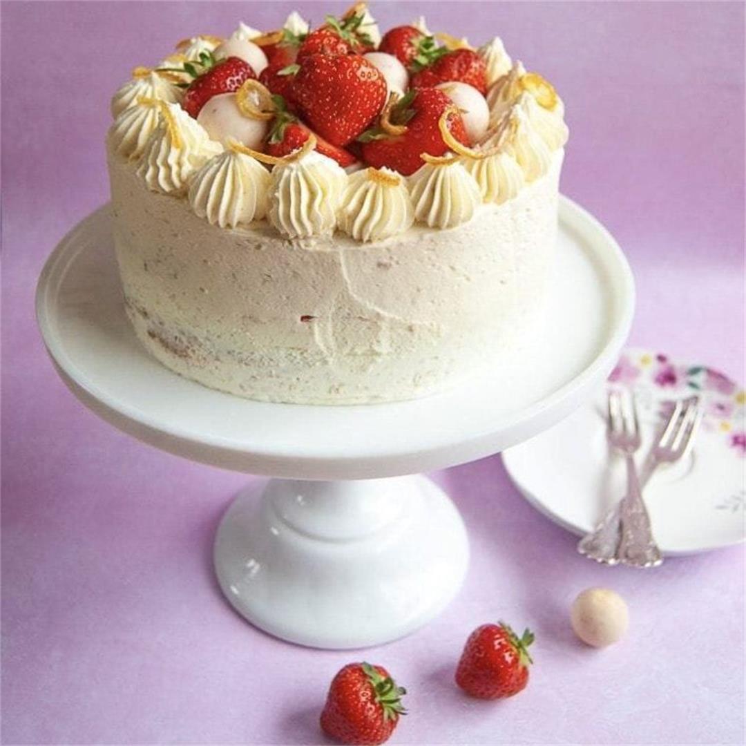 Lemon, elderflower and strawberry cake