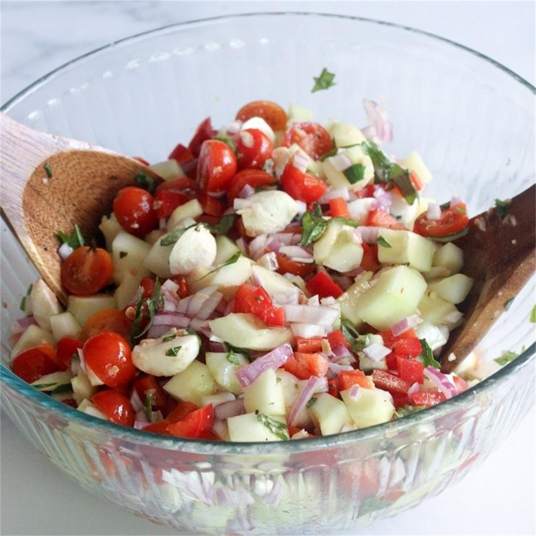 The Best Caprese Cucumber Salad Recipe with Mozzarella Balls