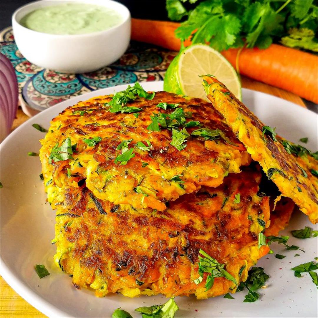 Vegetable Fritters with Cilantro Sauce