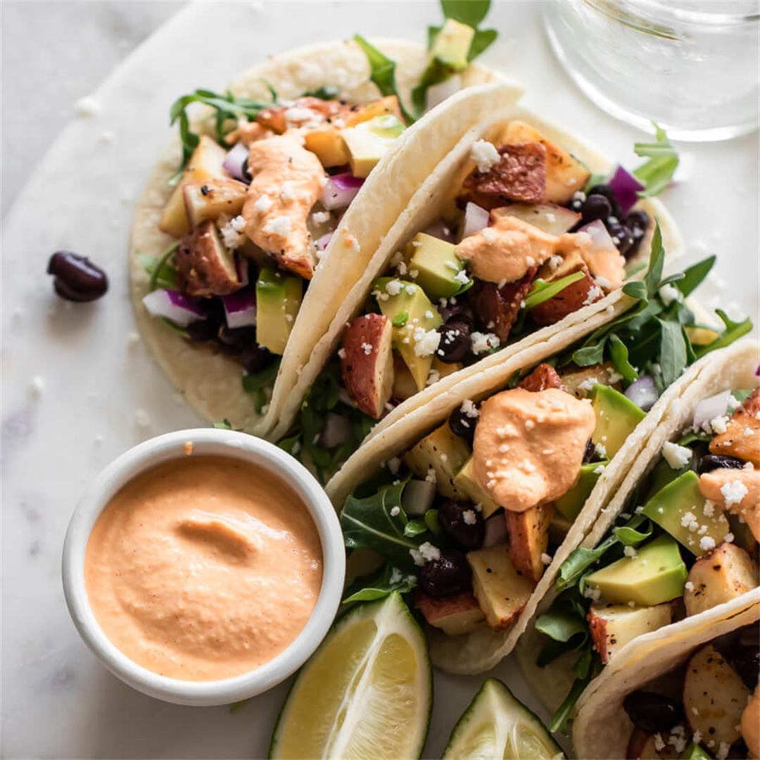 Potato Tacos with Chipotle Cashew Sauce