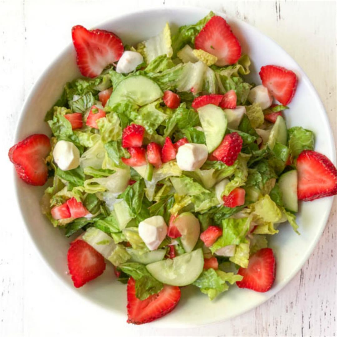 Low Carb Strawberry Caprese Salad with Balsamic Vinaigrette