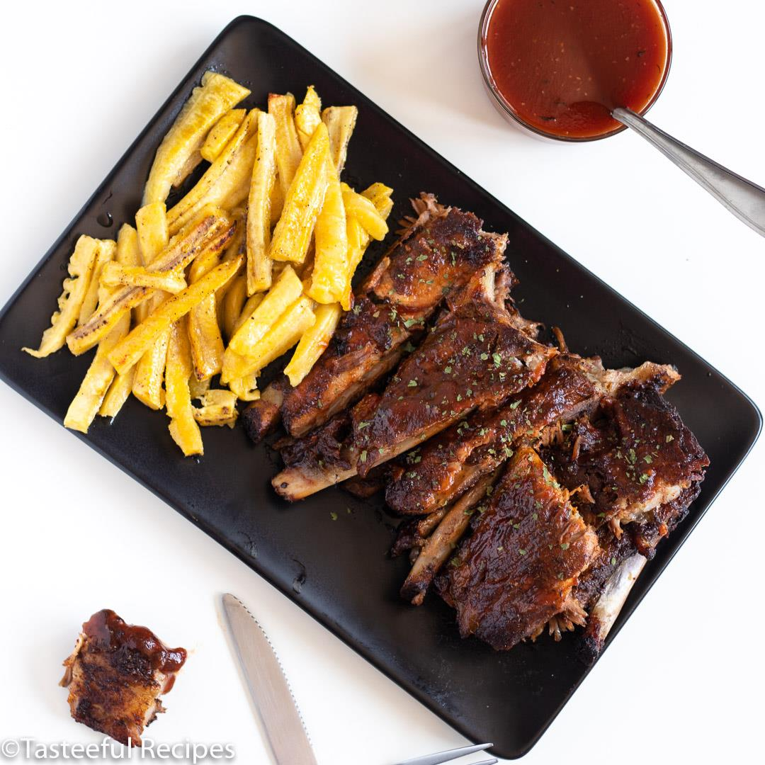 Baked BBQ Ribs & Plantain Fries