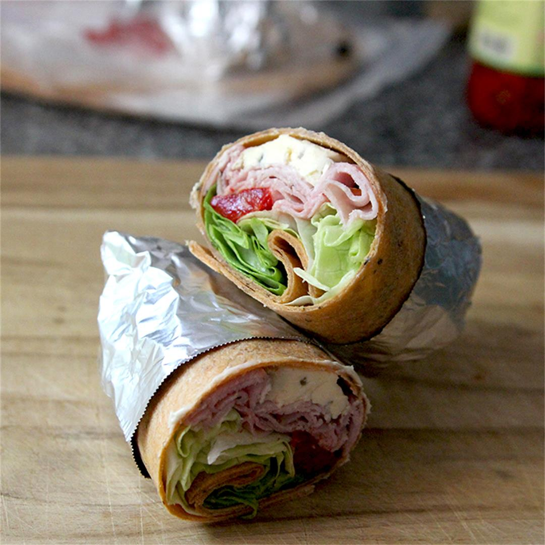 Ham, Cambozola and Roasted Red Pepper Wraps
