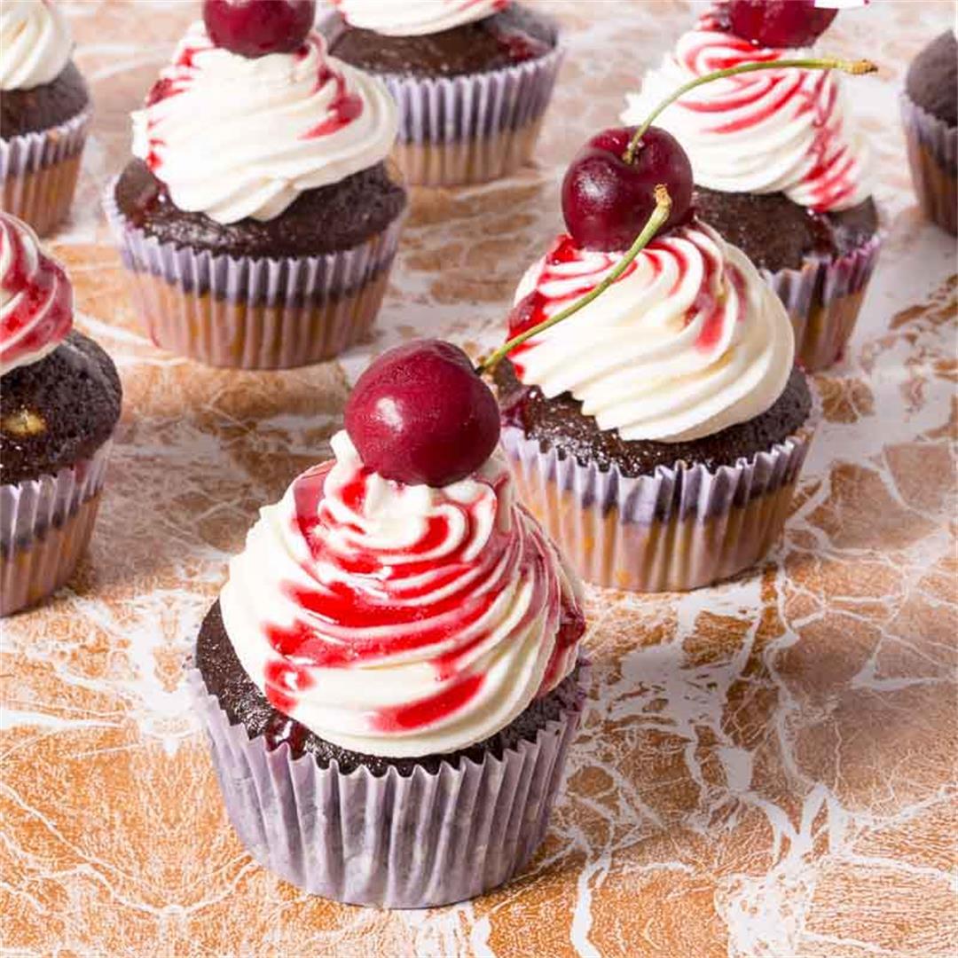 Decadent Chocolate Cherry Cupcakes