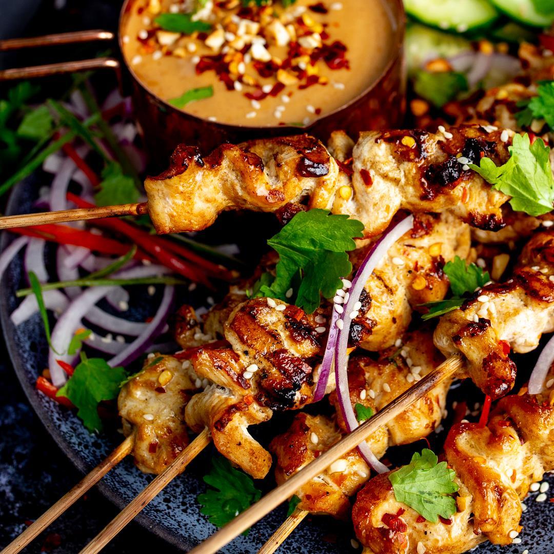 Easy Chicken Satay with Peanut Chilli Sauce