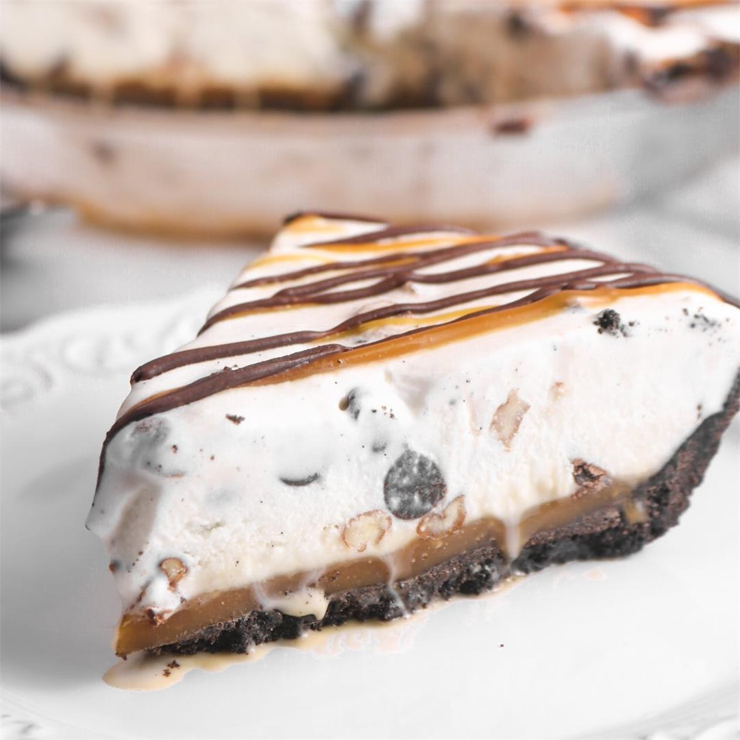 Millionaire Ice Cream Pie with Chocolate Cookie Crust