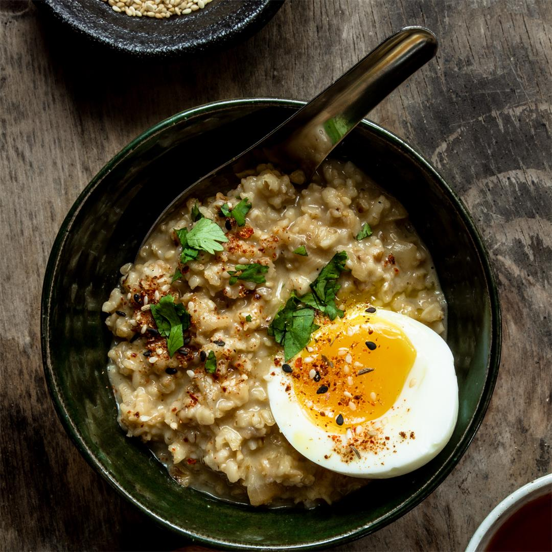 Cheesy Caramelized Onion and Miso Savory Oatmeal