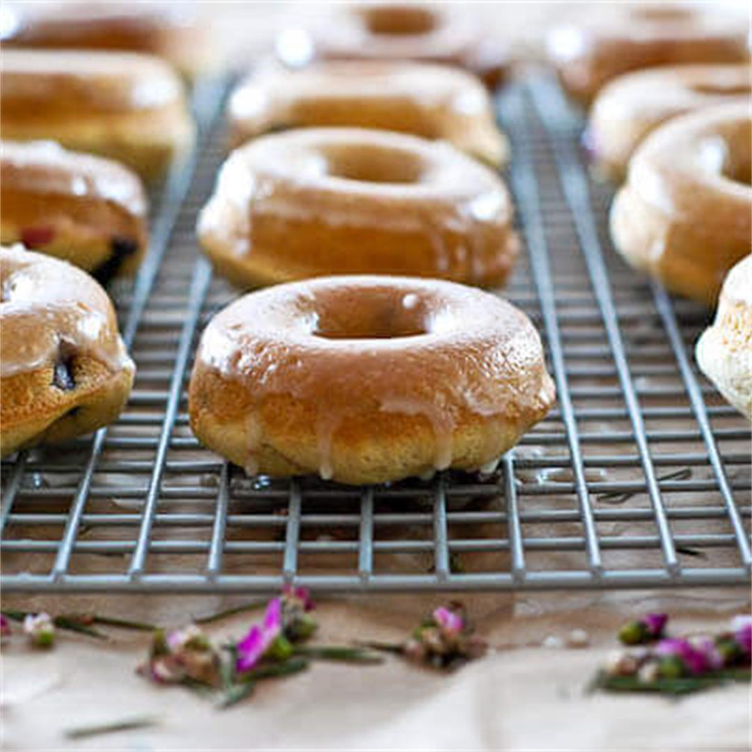 Lemon And Blueberry Baked Cake Donuts