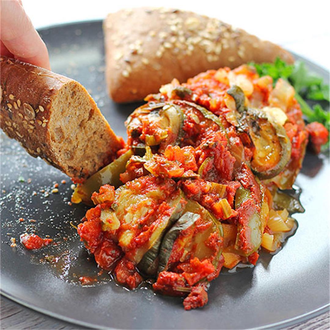 oil free Briam: roasted veggie casserole