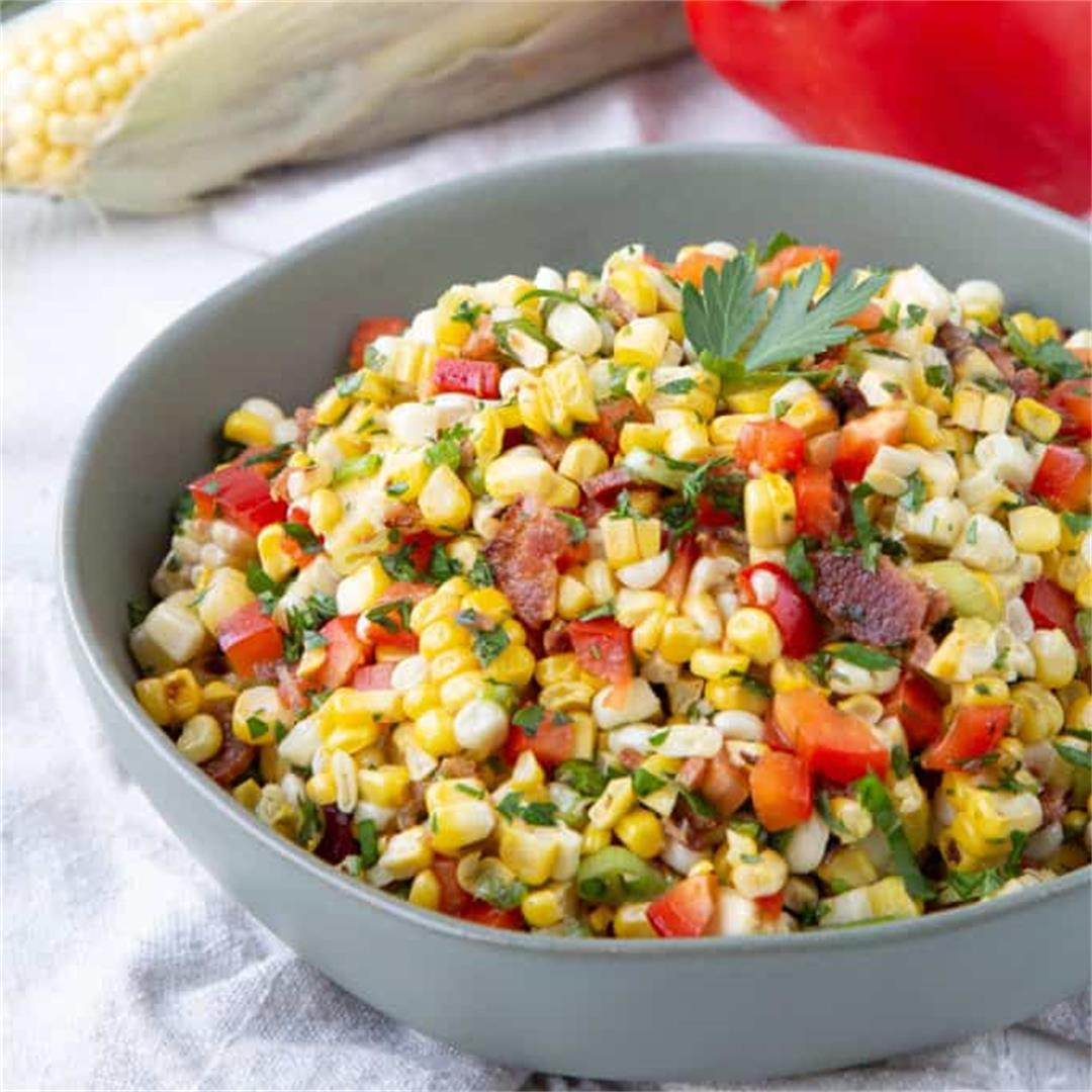 Grilled Corn Salad with Crumbled Bacon