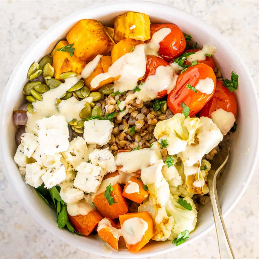 Buckwheat Bowls with Roasted Vegetables and Tahini Sauce