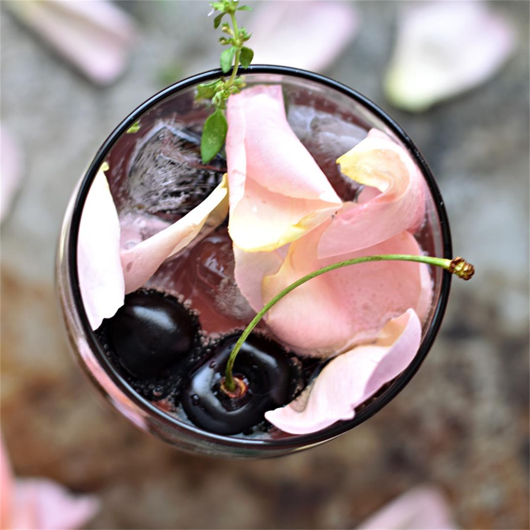 Sparkling Cherry Mocktail with Rose Petals – THE BOOZY OYSTER