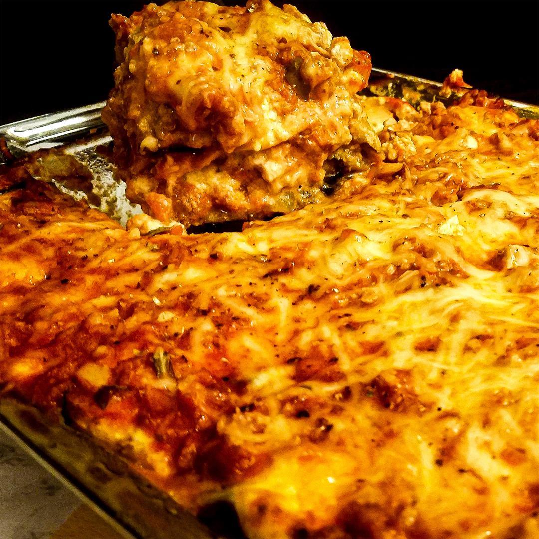Cheesy Garlic Eggplant Lasagna