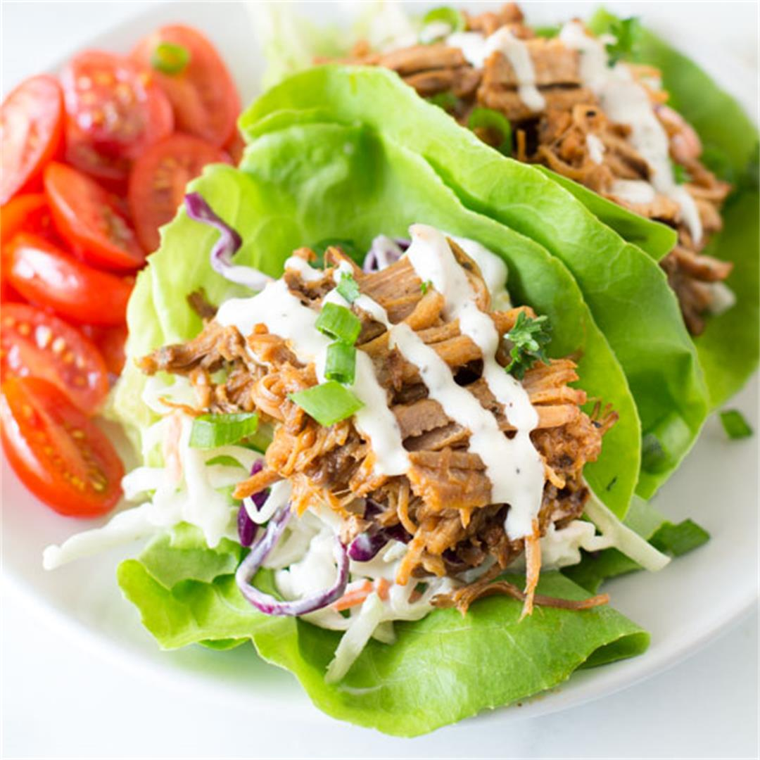 Barbecue Pulled Pork Lettuce Wraps with Healthy Coleslaw