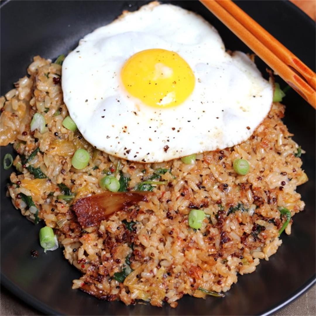 Kimchi Fried Cauliflower Rice (Paleo Friendly)
