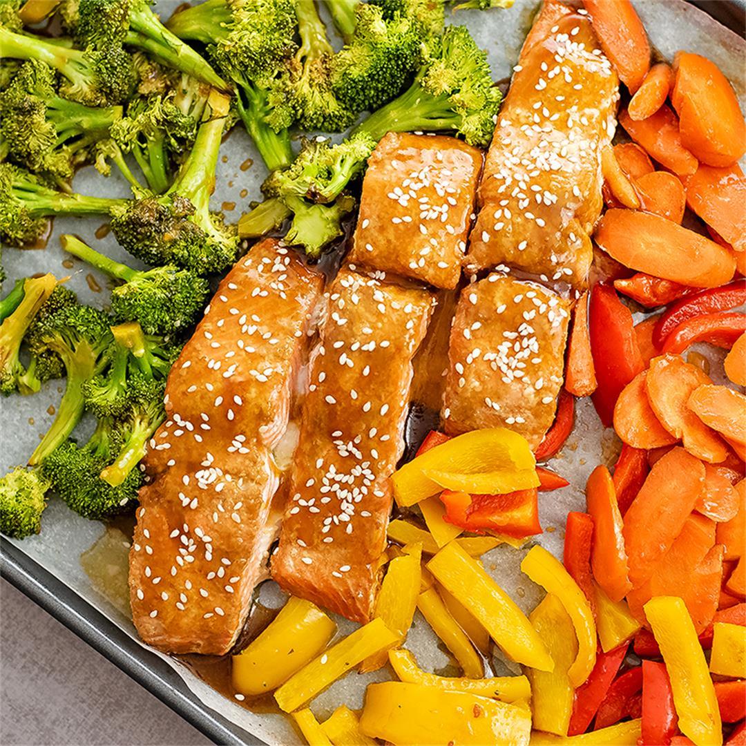 Baked Teriyaki Salmon Sheet Pan Meal