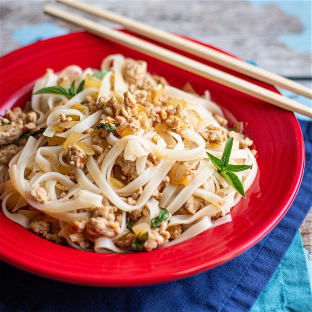 Delicious Thai Basil Pork and Noodles