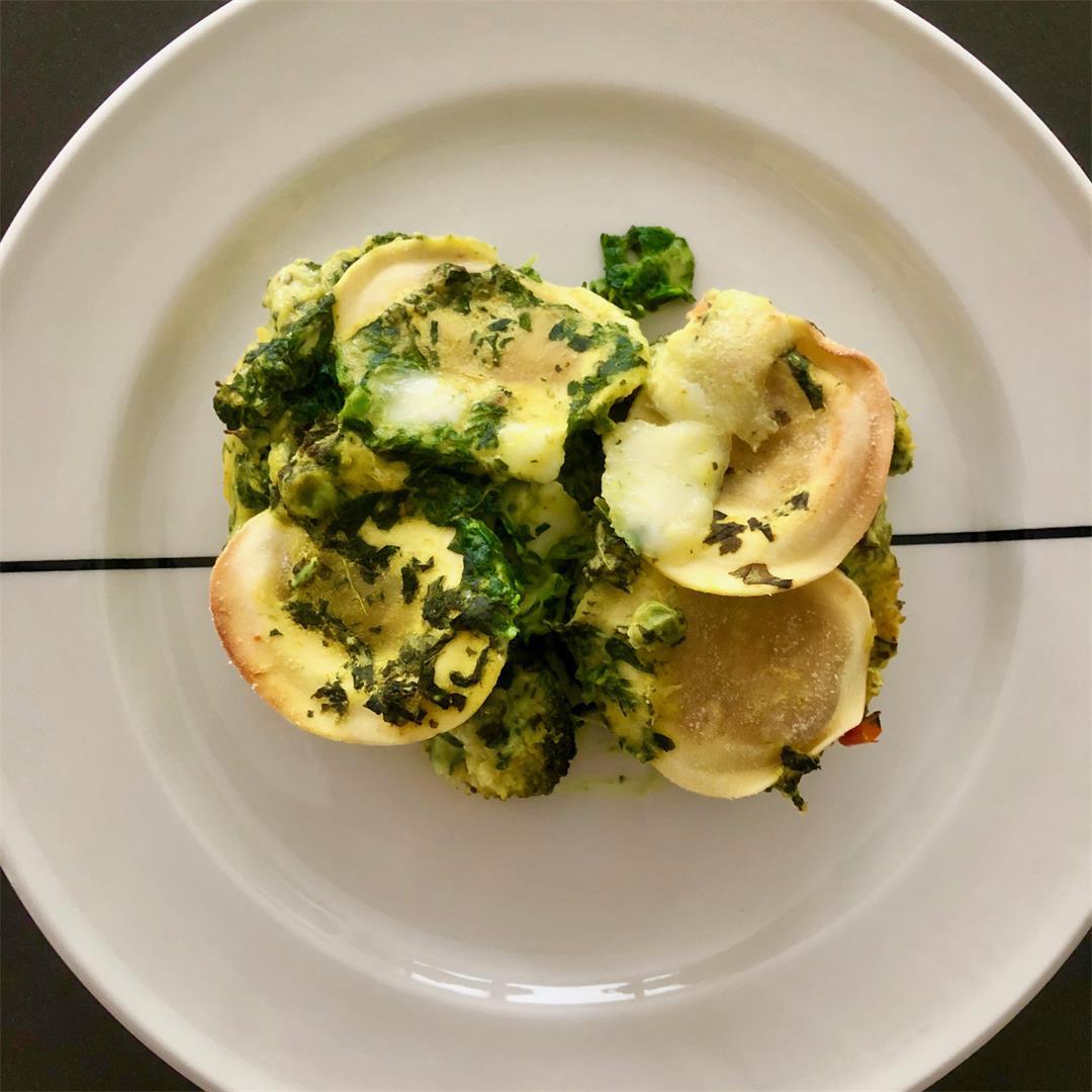 yellow-green tortellini lasagne