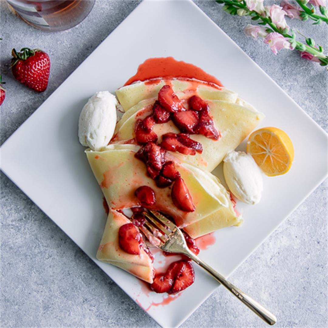 Ricotta Crepes with Vanilla Bourbon Strawberries