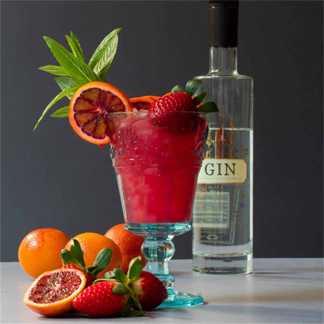 Blood orange pomegranate gin daisy cocktail