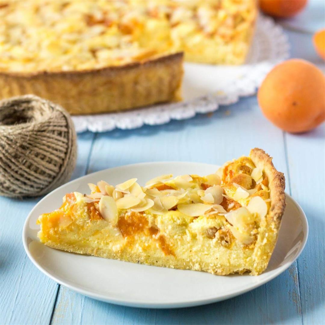 Apricot Almond Cheesecake Pudding Tart