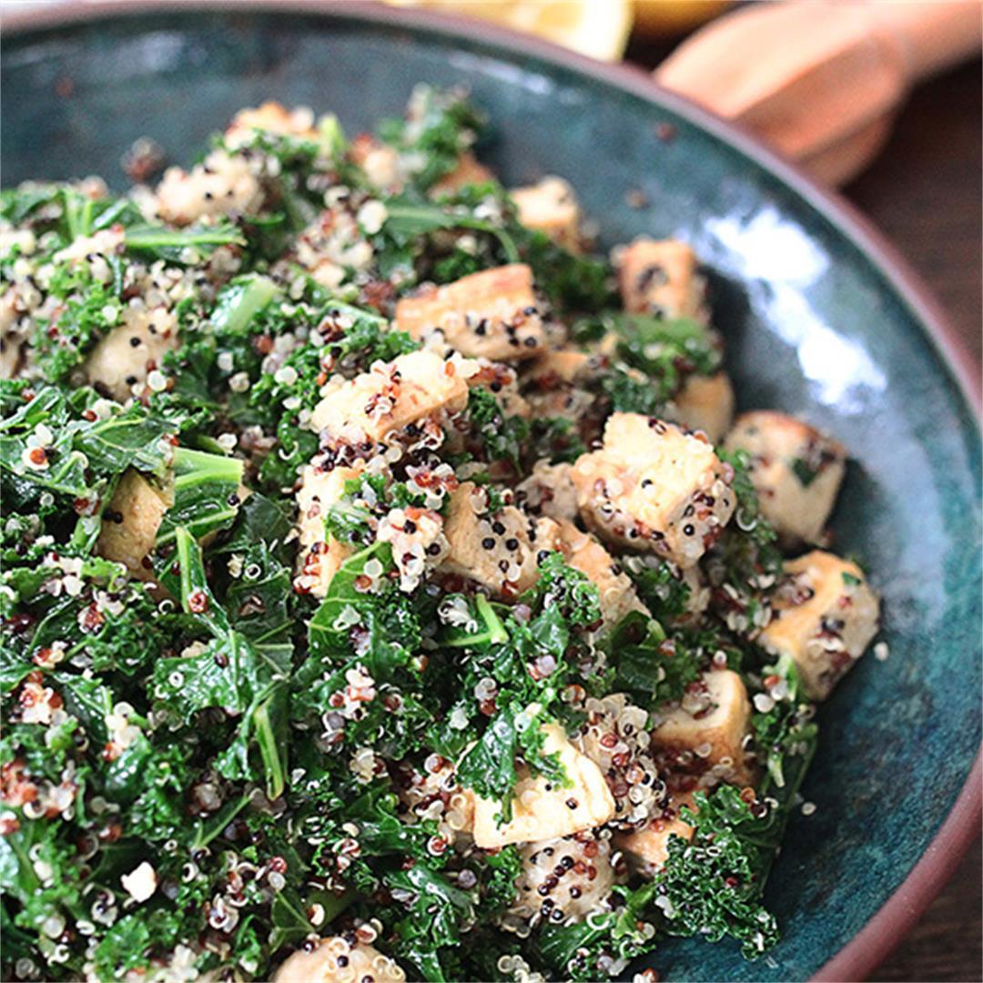 Kale, tofu, mushroom and quinoa protein bowl