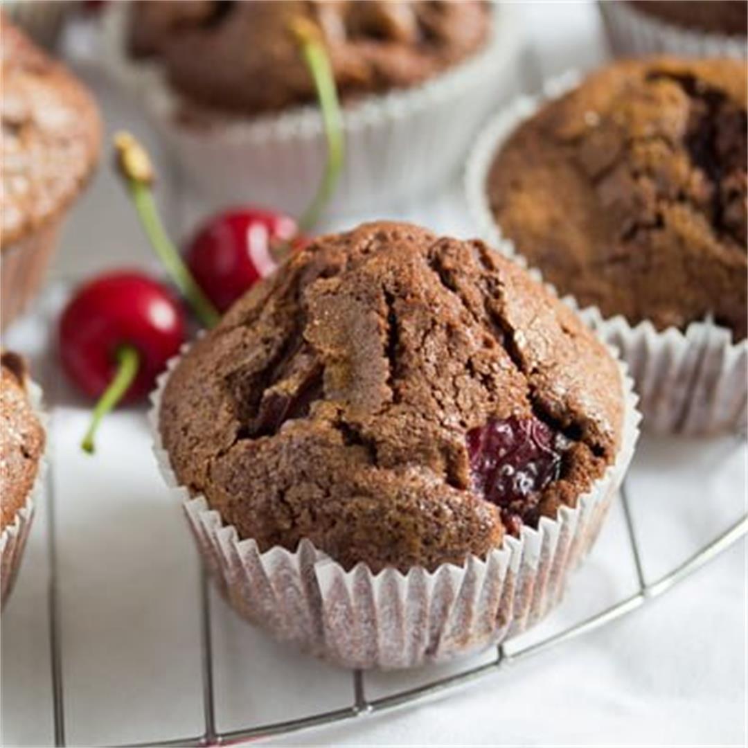 Easy Chocolate Cherry Muffins