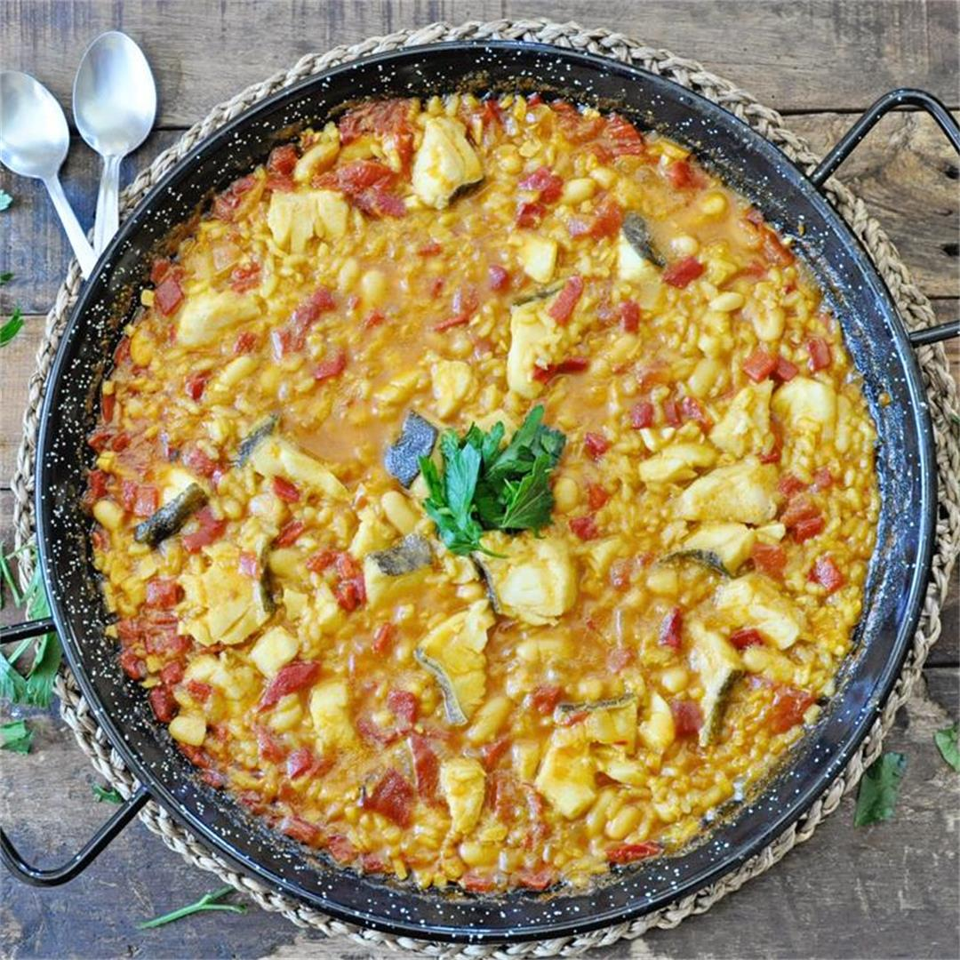 Spanish ¨Arroz Empedrado¨ Rice with White Beans and Cod Recipe