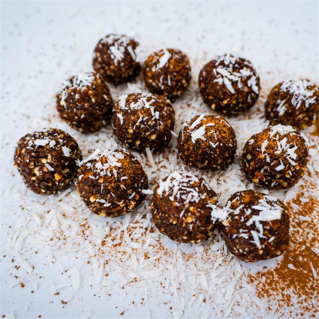Best Bliss Balls: Raw carob powder coconut bites with plums