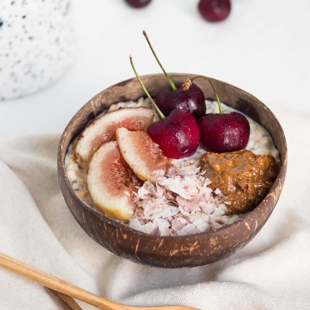 Overnight Oats with Almond Butter, Cherries & Fig
