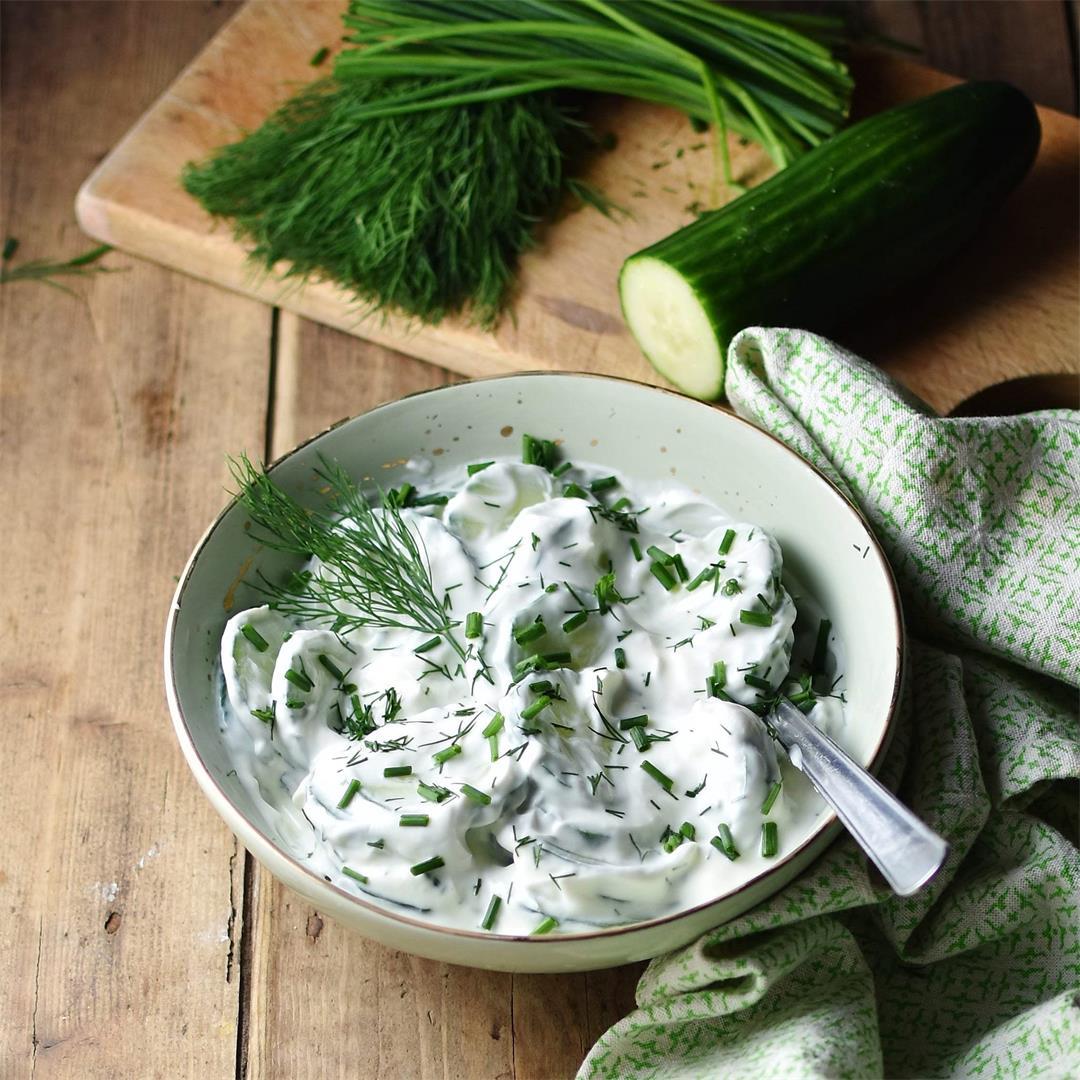 Polish Cucumber Salad (Mizeria) 2 Ways