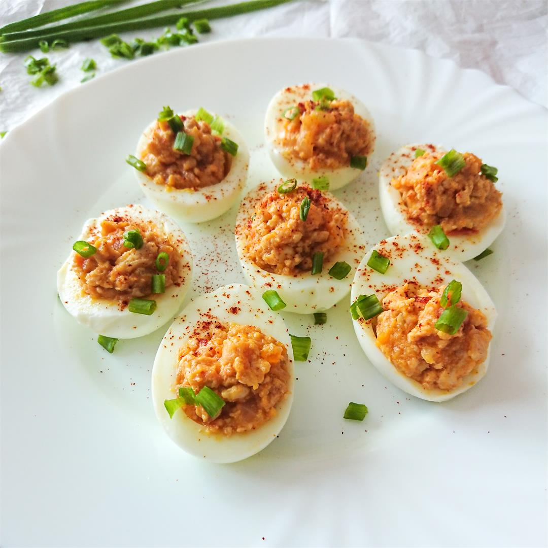 creamy, delicious chicken deviled eggs