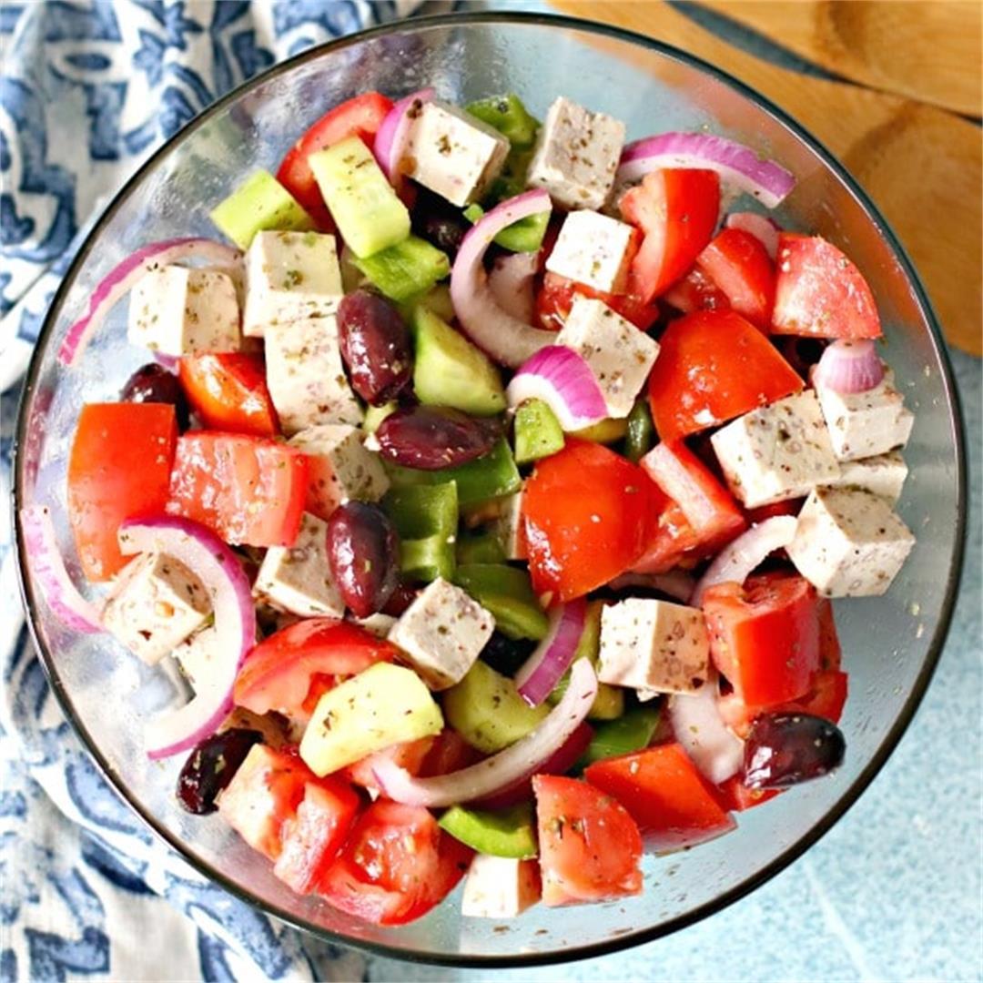 Vegan Greek Dressing and Salad with Tofu Feta
