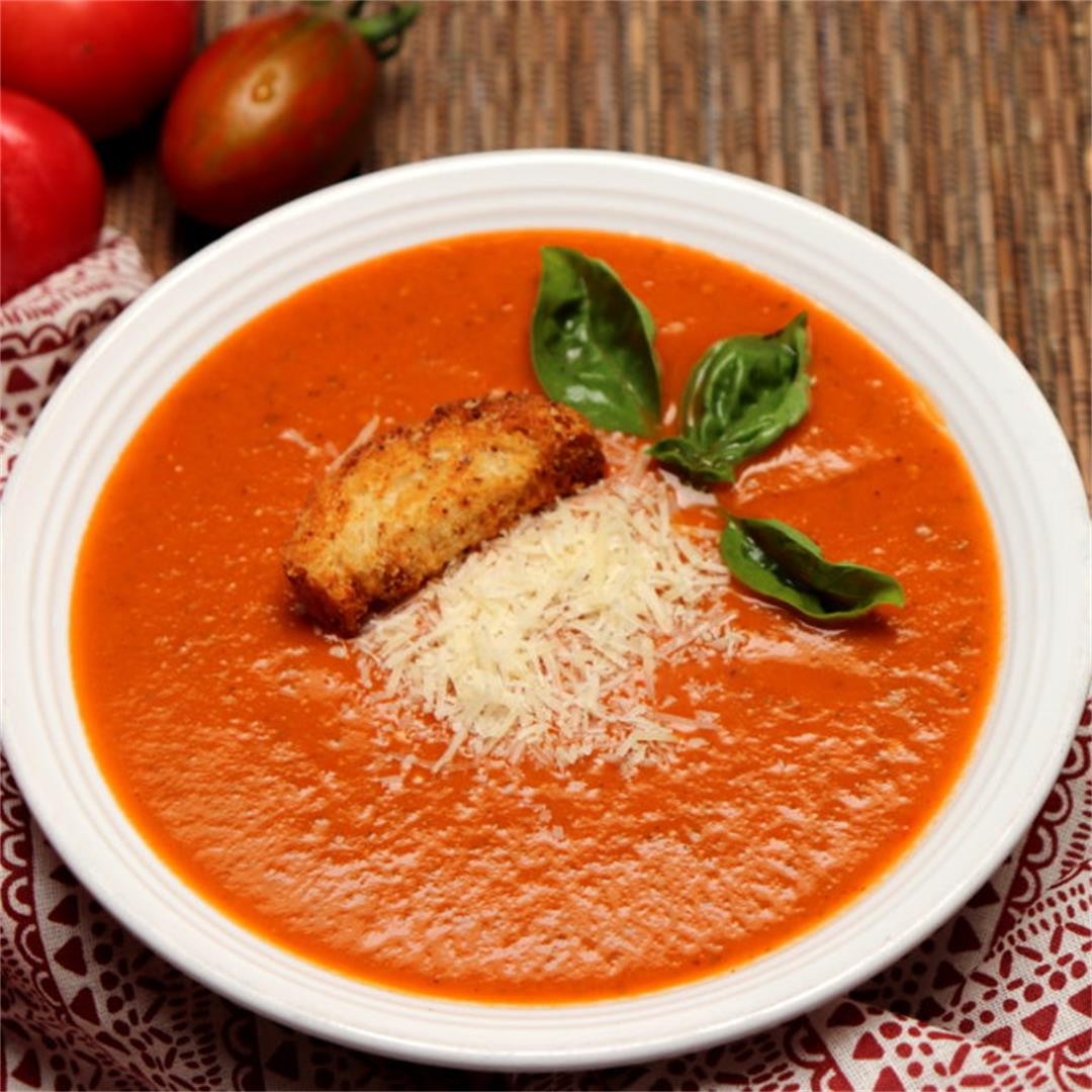 Roasted Summer Tomato and Basil Soup