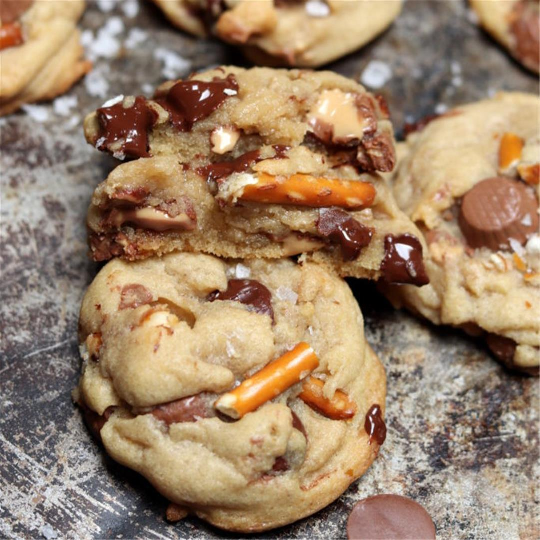 Chocolate Chip, Peanut Butter Cup, and Pretzel Cookies (Sweet &
